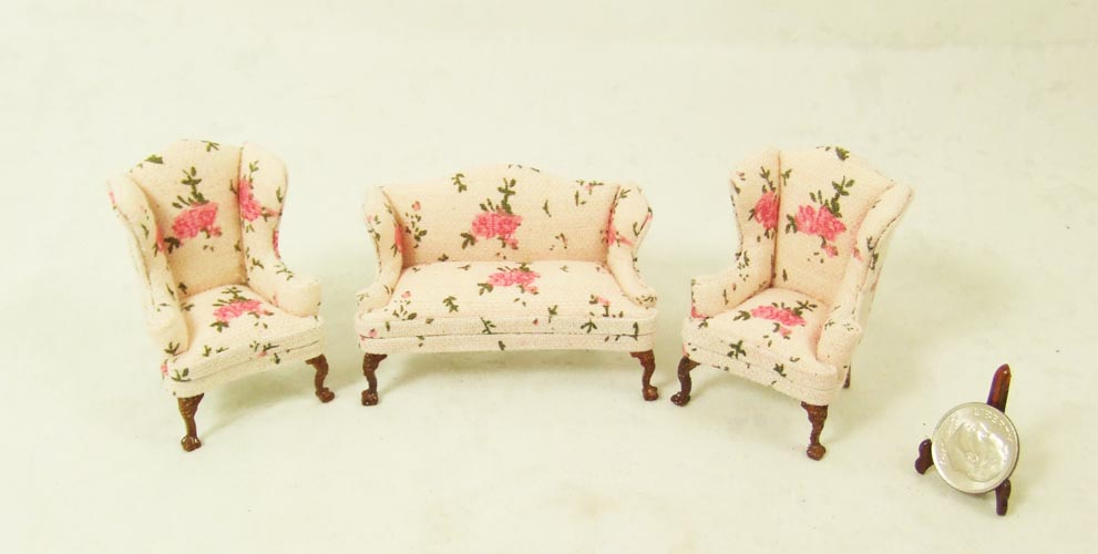 "Hs1613, 1/2"" scale - Pink Living room chair and sofa set - 3pcs"