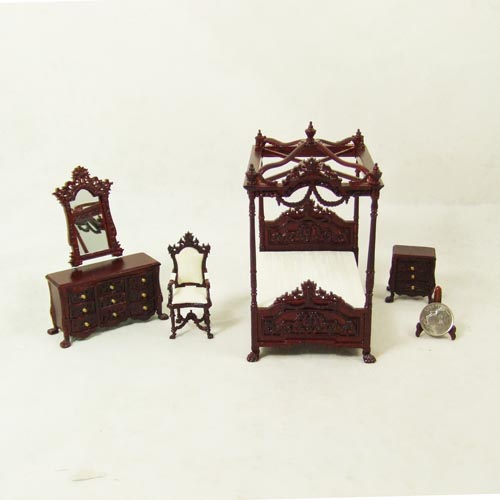 "S 4120, 1/2"" scale - Mahogany Bed Room set - 5pcs"