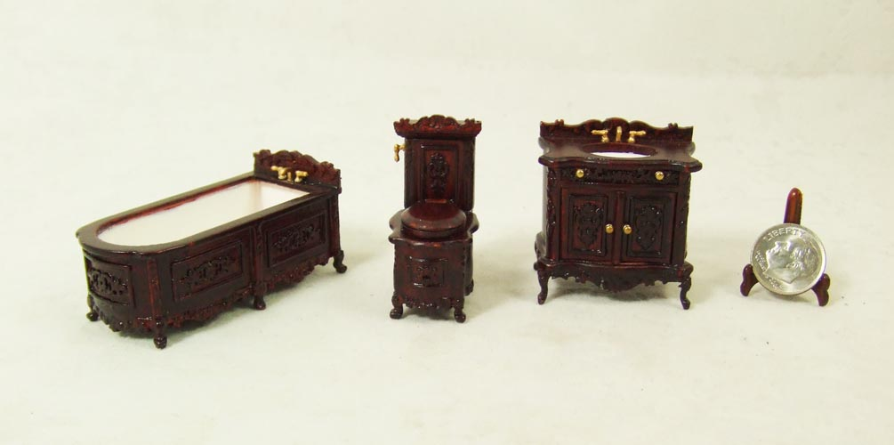 "S 8073 1/2"" scale - Mahogany Bathroom set - 3pcs"