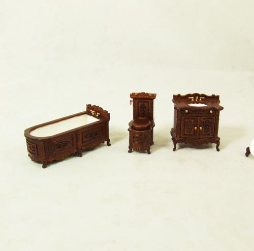 "S 8073, 1/2"" scale - Walnut Bathroom set - 3pcs"