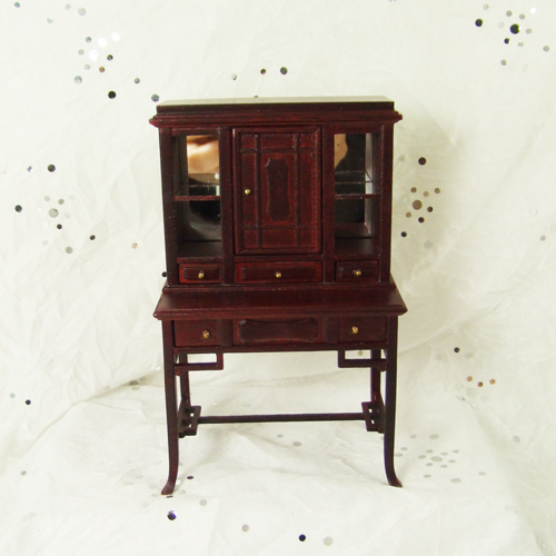 "H12013 MH - 1"" scale Mahogany Display Cabinet"