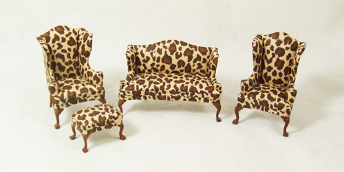 HN - 13 set-C, Leopard spot sofa, Wingback Chairs and Stool set