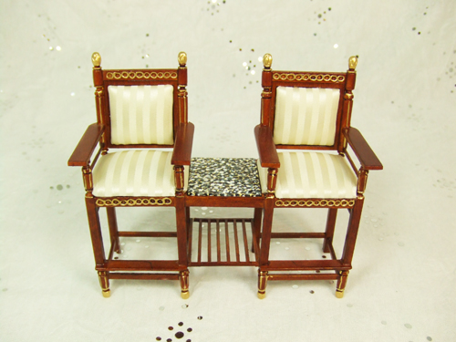 ** 8012-01 ** Walnut Game Room Chair for 2 w/ Gold hand Painted