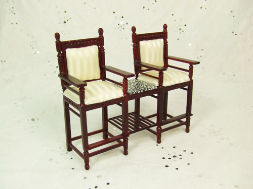 ** 8012-01 ** Mahogany Game Room Chair for 2