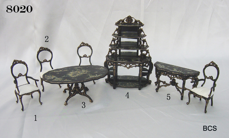 8020 Ornate oriental Black Lacquer Dining Room Set 7 pieces