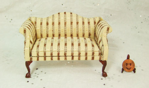 "8028-02, Yellow and Brown Stripe Sofa in 1"" Scale"