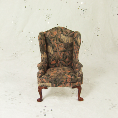 "8030-05, Brown Flowers Wing-back Chair in 1"" Scale"