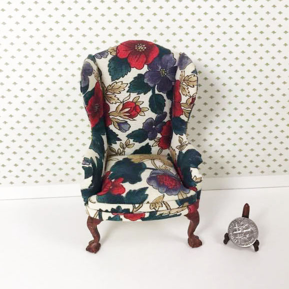 "8030-01, Red and Purple Flowers Wing-back Chair in 1"" Scale"