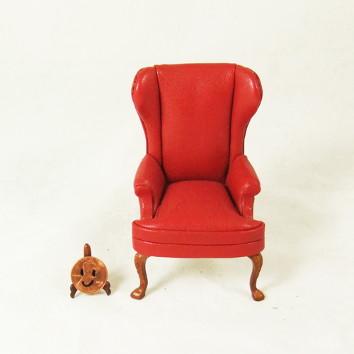 8035 02 Red Leather Wingback Chair In 1 Scale
