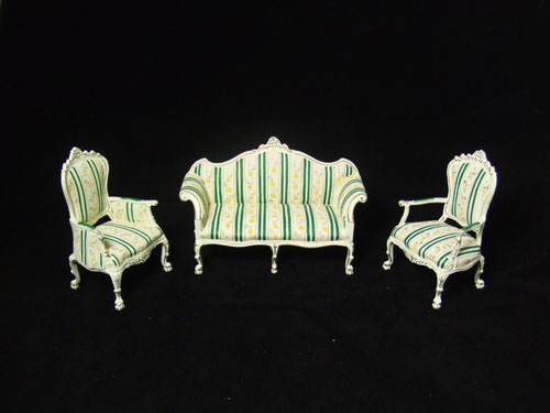 "8036 1"" Scale White and Green Stripe Sofa set For Alexandra"