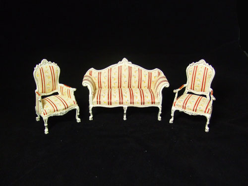 "8037 1"" Scale White and Red Stripe Sofa set For Alexandra"