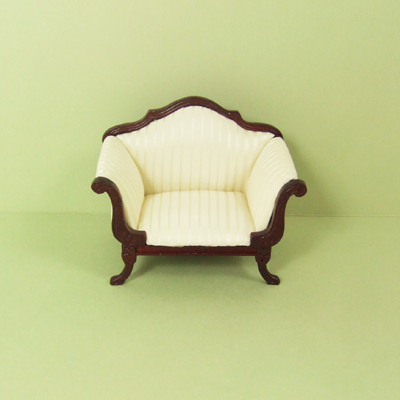 "8044-01, White Stripe Armchair with Mahogany Frame in 1"" Scale"