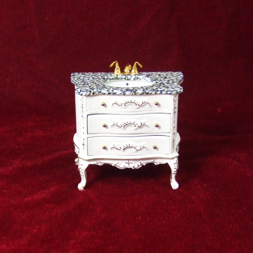 "8075-03, White Wash Stand Marble with drawers in 1"" scale"