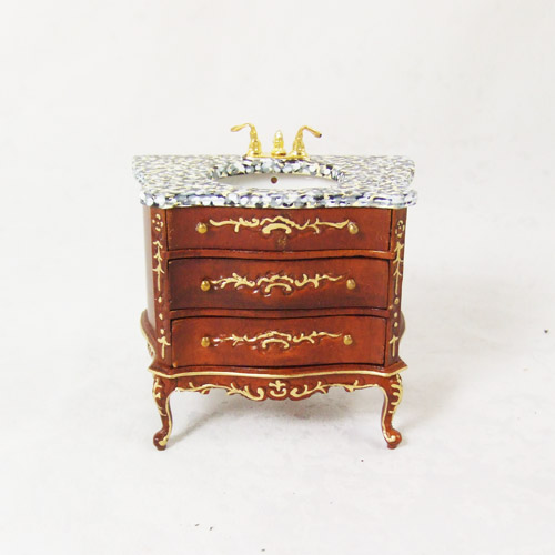 "8075-03, WN Wash Stand Marble with drawers in 1"" scale"