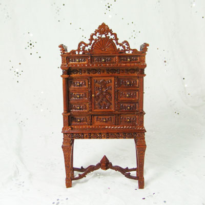 "8080-02 Walnut Louis XIV Collectors Cabinet Cabinet - 1"" Scale"