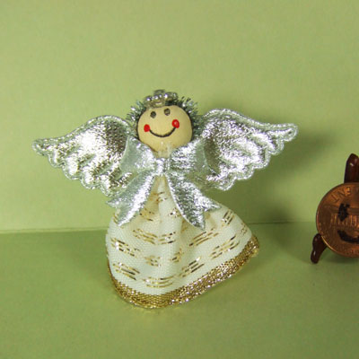 "Dollhouse Silver Angle for 1"" Christmas Tree Top"
