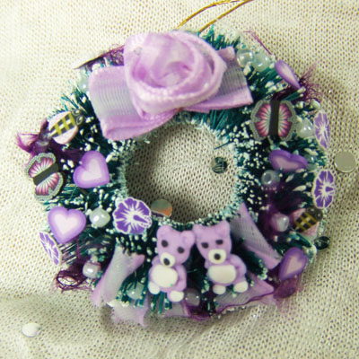 "purple bear Wreath - 1"" scale dollhouse or Room Box"