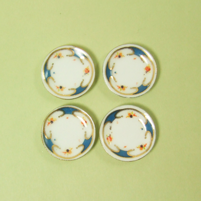 HN 07036 - 4 DINNER PLATES with unique blue and gold pattern