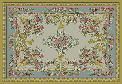 Franch Aubusson Miniature Rug 11 x 16 in - PDF File ONLY