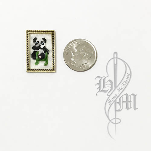Petit point Panda with Name Initial H w/ Gold wooden frame