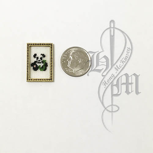 Petit point Panda with Name Initial J w/ Gold wooden frame