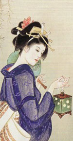 Japanese Woodblock Art - A woman with Blue Kimono 1