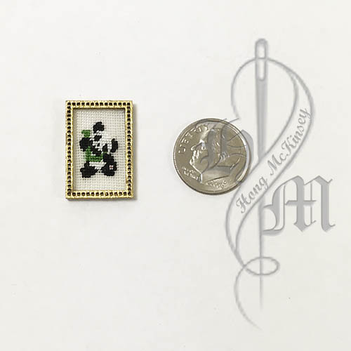 Petit point Panda with Name Initial L w/ Gold wooden frame