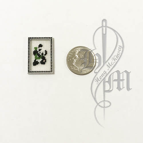 Petit point Panda with Name Initial L w/ Silver wooden frame