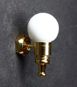 22022 Dollhouse Miniature Wall Sconce White Globe Light Lamp