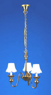 24053 DOLLHOUSE MINIATURES 3-ARM WHITE CANDLE-SHADE CHANDELIER