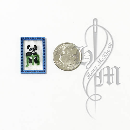 Petit point Panda with Name Initial M w/ Blue wooden frame