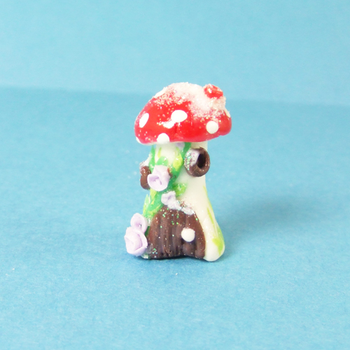 OOAK 113 - Handmade Winter Mushroom house with snow