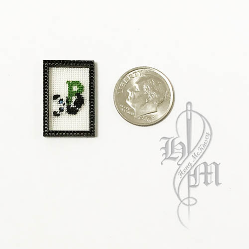 Petit point Panda with Name Initial P w/ Black wooden frame
