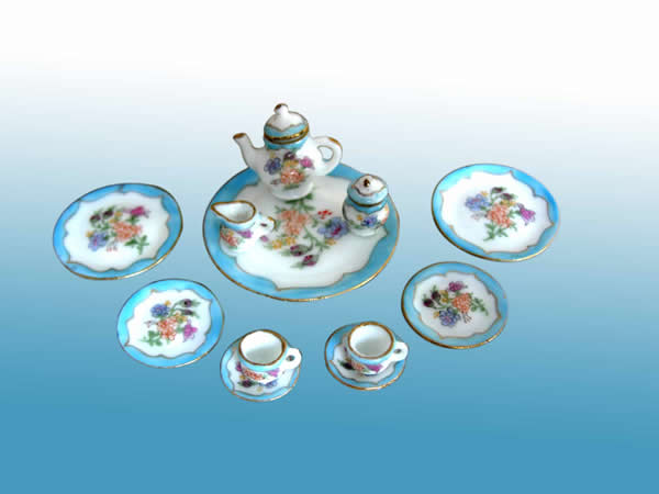 Collectible Sky Blue Porcelain Full Tea Party Set - EP 05026