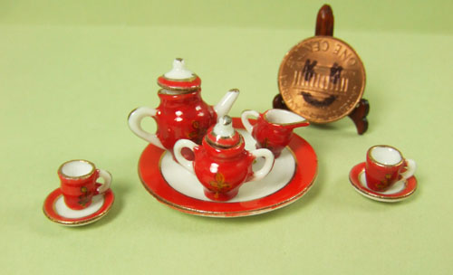 Collectible Red Eggshell Porcelain Tea Party Set - EP 05016