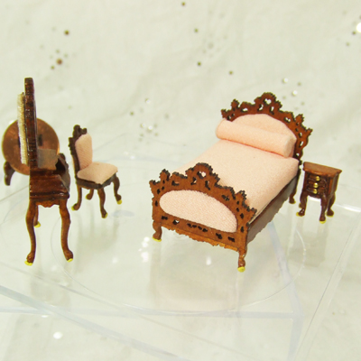 "Q1070-74 New Walnut BED Room set for 1/4"" scale dollhouse"
