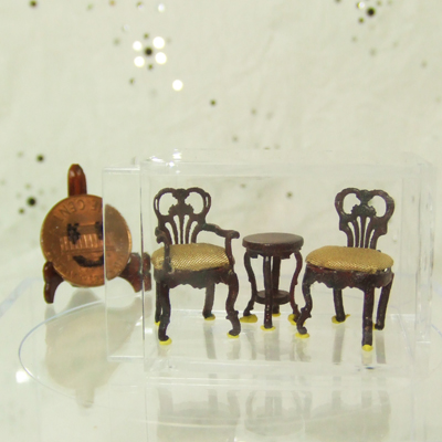 "Q1075-77 Mahogany Seating set for 1/4"" scale dollhouse"