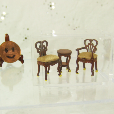 "Q1075-77 New Walnut Seating set for 1/4"" scale dollhouse"