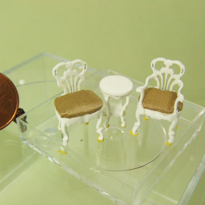"Q1075-77 White Seating set for 1/4"" scale dollhouse"