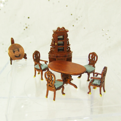 "Q2300-04 New Walnut Dining Room set for 1/4"" scale dollhouse"