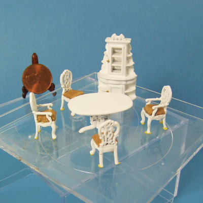 "Q2300-04 White Dining Room set for 1/4"" scale dollhouse"