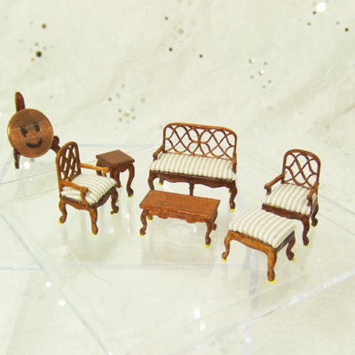 "Q6205-09 New Walnut Living Room set for 1/4"" scale dollhouse"