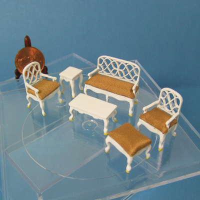 "Q6205-09 White Living Room set for 1/4"" scale dollhouse"