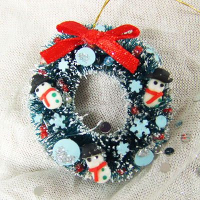 "Snowman sky blue Wreath - 1"" scale dollhouse or Room Box"