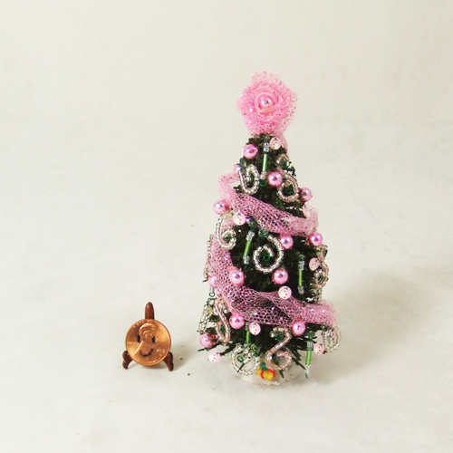 "Dollhouse Xmas Tree #16 pink tree 1/12 or 1/24 -4.5"" inch tall"