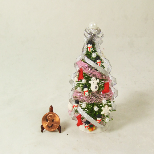 "Dollhouse Xmas Tree #17 Silver tree 1/12 or 1/24 - 4"" tall"