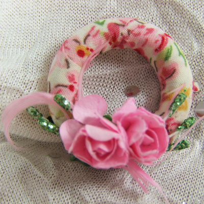 "Pink Spring Wreath - 1"" scale dollhouse or Room Box"