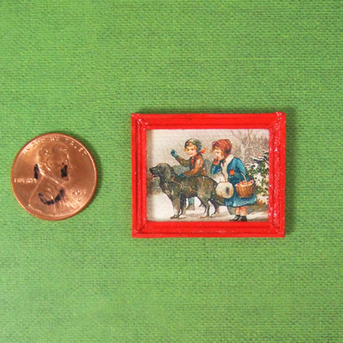 "Dollhouse Xmas painting #2 - 1/24 or 1/48 - 1 1/4"" x 1"""
